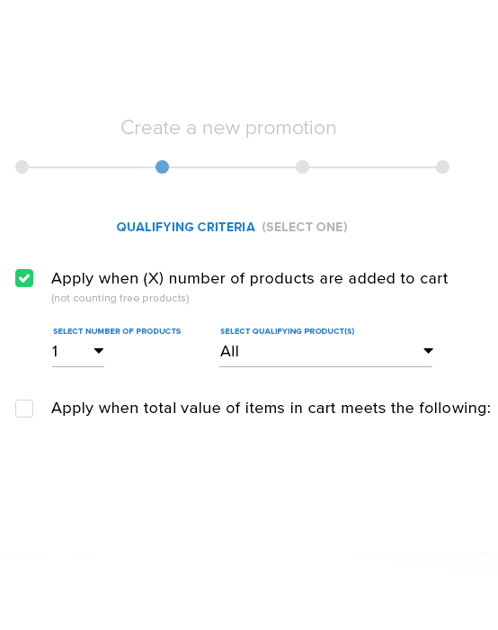 Interface for selecting qualifying criteria for a Swagify promotion