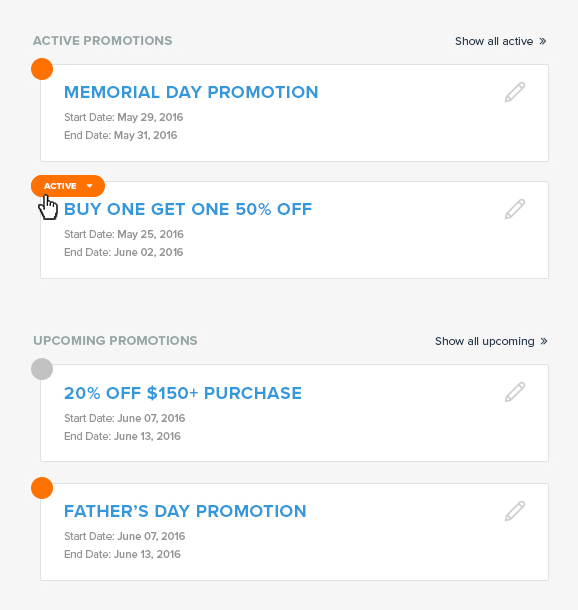 List of promotions in the Swagify dashboard