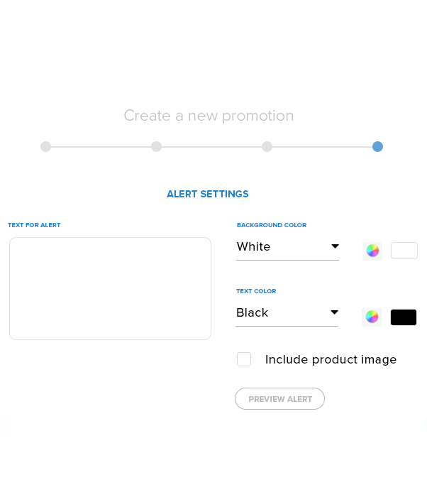 Promotional message customization controls from the Swagify dashboard